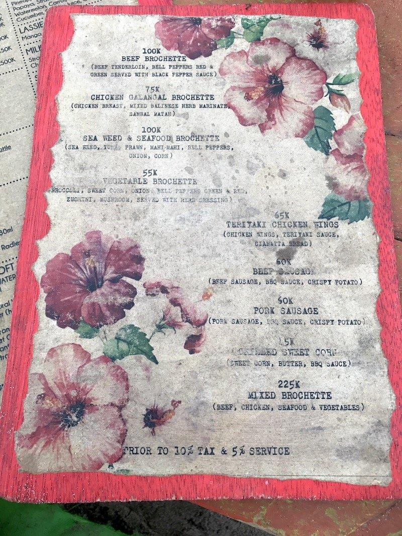 image - la plancha bali restaurant menu board
