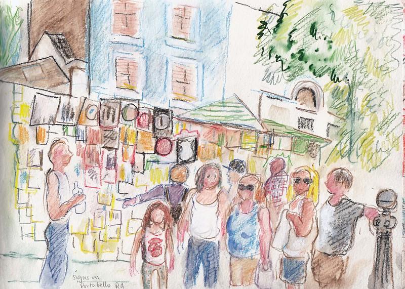 image - notting hill portobello road markets handdrawn sign by paulina little flickr