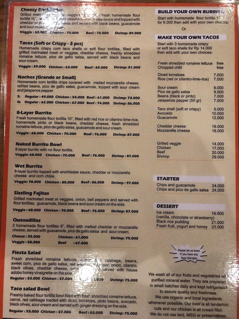 image - taco casa mexican seminyak menu