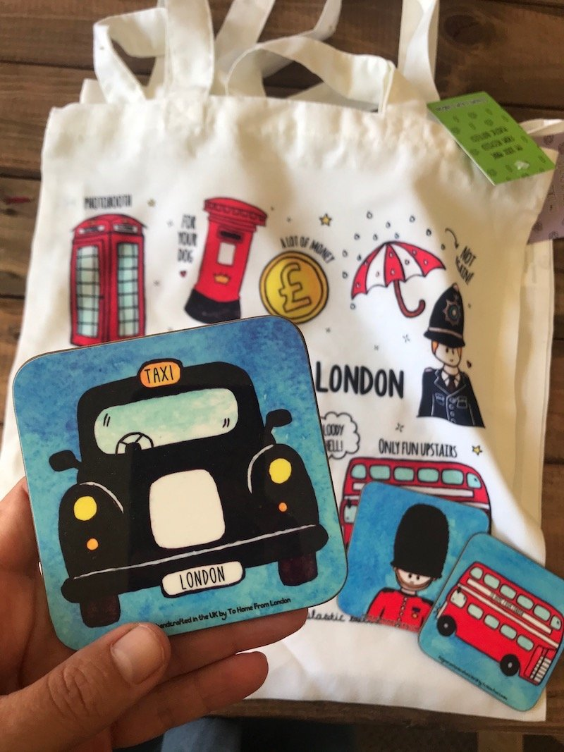image - to home from london souvenirs bag & coasters