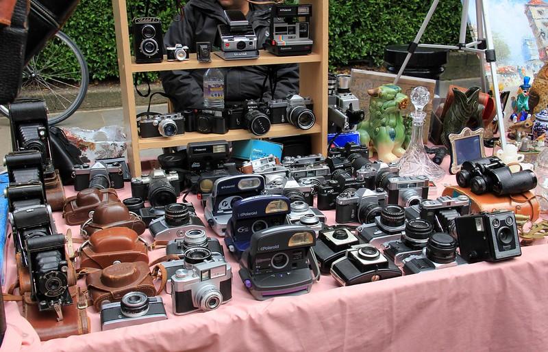image - vintage cameras at portobello road market london by karen roe