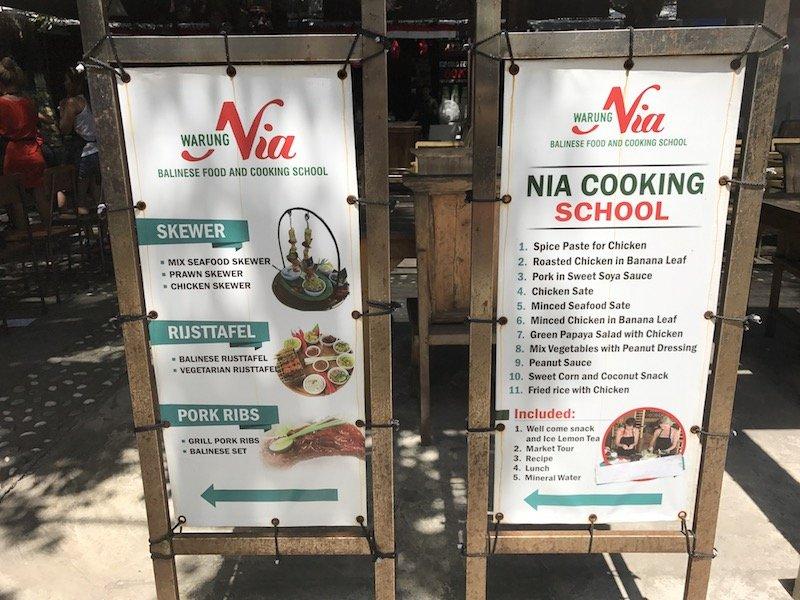 image - warung nia cooking school bali sign