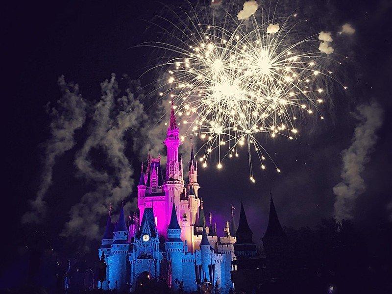 image - disney castle fireworks by steven van