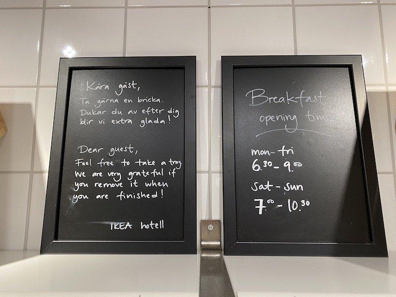 image - ikea hotel breakfast opening hours sign