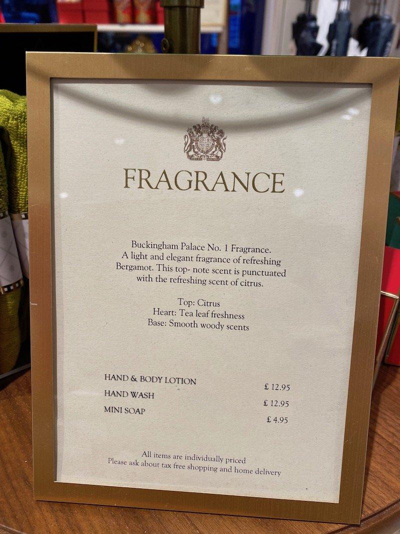 image - buckingham palace fragrance sign