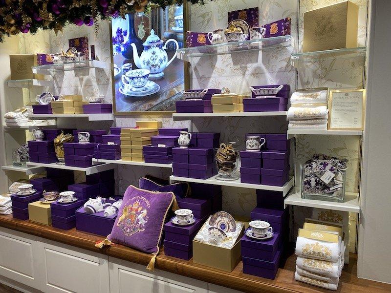 image - buckingham palace tea set purple