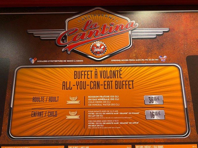 image -la cantina disneyland paris all you can eat buffet sign