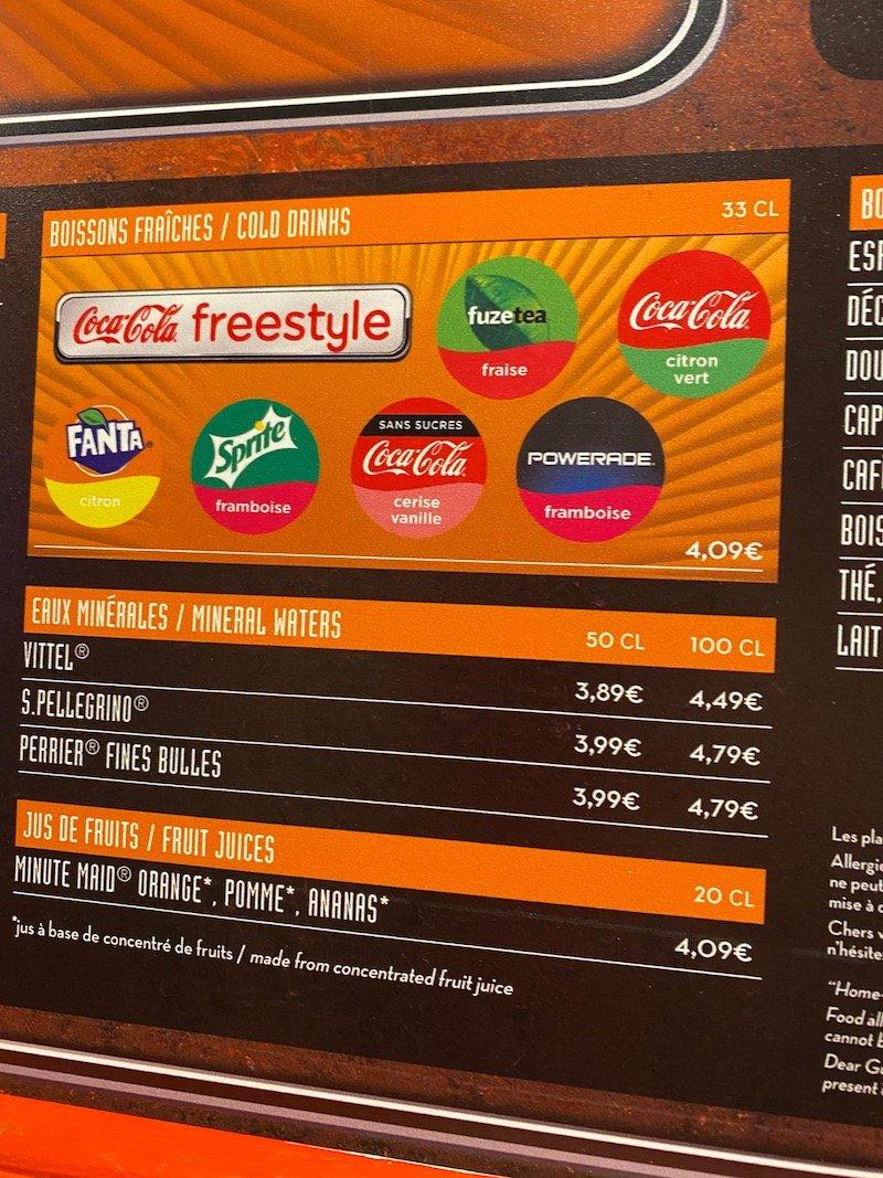 image -la cantina disneyland paris drinks menu