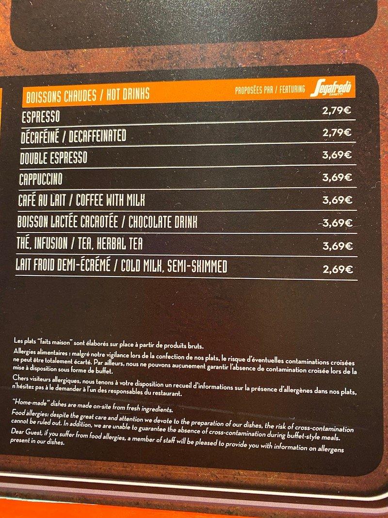 image -la cantina disneyland paris menu