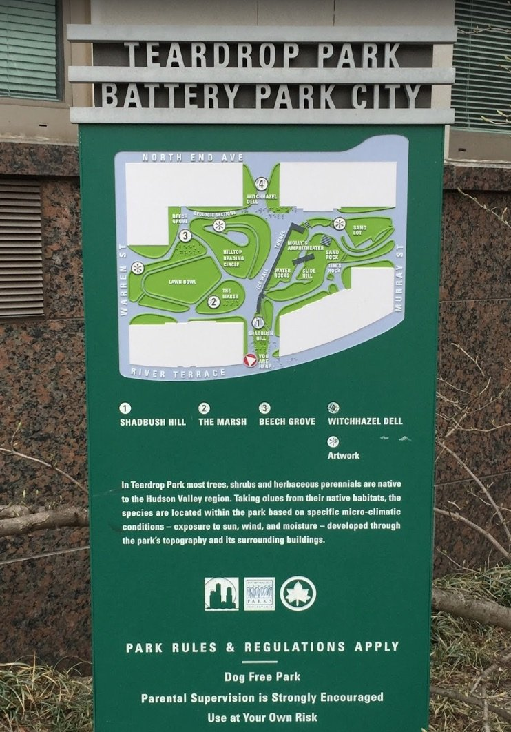 image - teardrop park battery park city sign by augie arocena gm