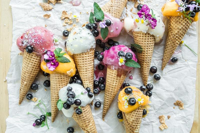 image - edible flowers on ice cream by brooke-lark