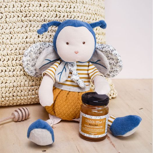 image - pollen organic bee soft toy by doudou et compagnie