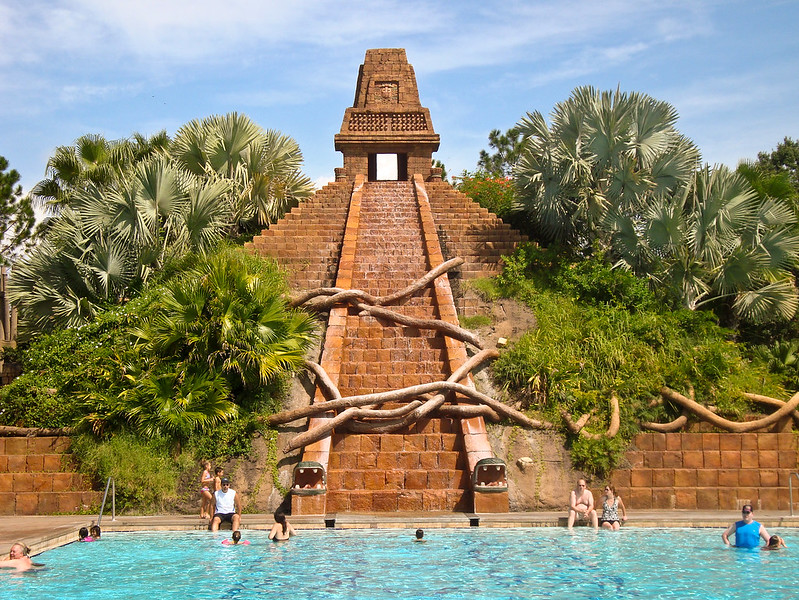 image - mayan temple pool at disney's coronado springs resort by happyskrappy