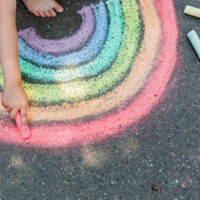image - chalkboard rainbow drawing